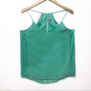 Guess Mint Green Tank with lace accents